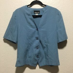 VTG Sag Harbor Button Up Blue Short Sleeve Blouse